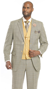 Mens Suits By EJ Samuel M2691-TAU ( 3 Piece 1920s Vintage Style, Glen Plaid Pattern, 2 Button Jacket With Side Vents, Solid Color Vest With Wide Shawl Lapel, Matching Pant )