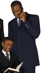 Mens Suits By EJ Samuel M1939-NA ( 2 Piece, 3 Button, Flat Front Pant, Solid Suit )