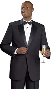 Mens Tuxedo By EJ Samuel TUX101-BLK ( 2pc Single Breasted, 1 Button And 2 Flap Pockets, Notch Lapels, Solid Color Tuxedo )