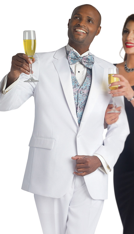 Mens Tuxedo By EJ Samuel TUX101-WH ( 2pc Single Breasted, 1 Button And 2 Flap Pockets, Notch Lapels, Solid Color Tuxedo )