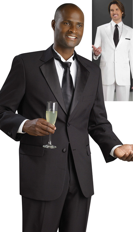 Mens Tuxedo By EJ Samuel TUX102-CO ( 2pc Single Breasted, 2 Button And 2 Flap Pockets, Notch Lapels, Solid Color Tuxedo )