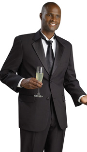 Mens Tuxedo By EJ Samuel TUX102 ( 2pc Single Breasted, 2 Button And 2 Flap Pockets, Notch Lapels, Solid Color Tuxedo )