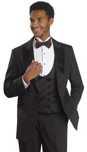 Mens Tuxedo By EJ Samuel TUX104-BLK ( 3pc Tuxedo, 1 Button Jacket With Peak Lapels, Double Breatsed Reversible U-Neck Vest, Pleated Pant, Super 150s )