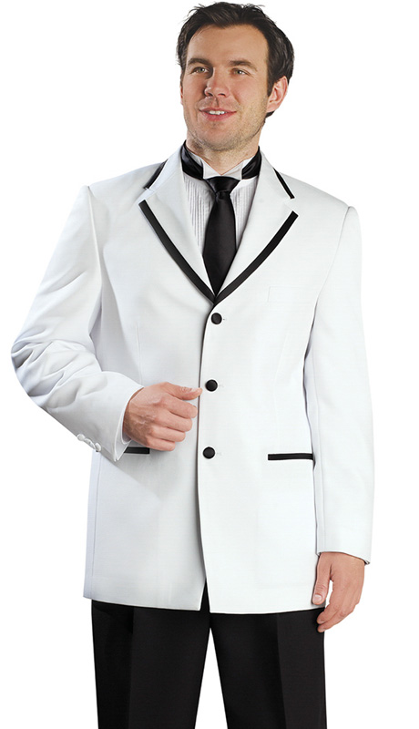 Mens Tuxedo By EJ Samuel TUX109 ( 2pc Single Breasted, Contrast Color Details On Pocket Trim, 3 Buttons And Notch Lapels With Black Pants Tuxedo )