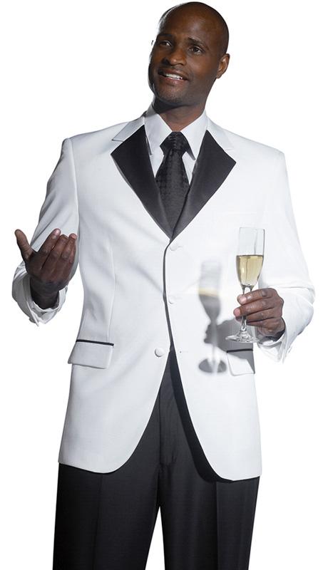 Mens Tuxedo By EJ Samuel TUX113 ( 2pc, Single Breatsed, 3 Button, 2 Flap Pocket With Black Trim, Contrast Color Notch Lapel Tuxedo )