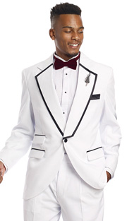 Mens Tuxedo By EJ Samuel TUX117 ( 2pc, 1 Button,  3 Flap Pocket And Notch Lapel With Black Trim, Pleated Pant Tuxedo