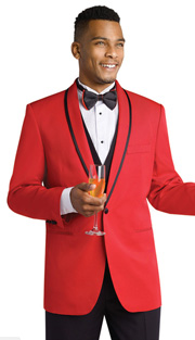 Mens Tuxedo By EJ Samuel TUX118 ( 3pc, Single Breatsed, 1 Button With Shawl Lapel And Contrast Trim Tuxedo )