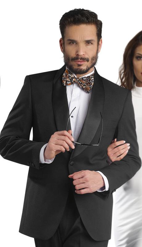 Mens Tuxedo By EJ Samuel TUX201-BLK ( 2pc, Single Breatsed, 1 Button With Shawl Lapel Tuxedo )