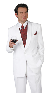 Mens Tuxedo By EJ Samuel TUX201-WH  ( 2pc, Single Breatsed, 1 Button With Shawl Lapel Tuxedo )