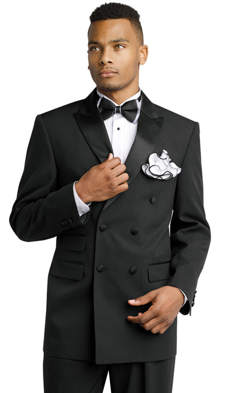 Mens Tuxedo By EJ Samuel TUX202 ( 2pc, Double Breasted, Peak Lapels, 3 Flap Pocket Solid Black Tuxedo )