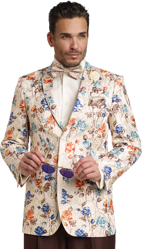 Mens Blazer By EJ Samuel J15 ( 1 Piece Elegant Floral Pattern Blazer, 2 Button, Super 150s )
