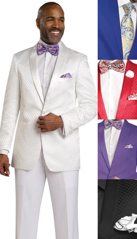 Mens Blazer By EJ Samuel J14 ( 1 Piece Blazer, 1 Button, Tone On Tone Diamond Pattern, Shawl Lapel, Super 150s )