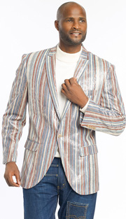 Mens Blazer By EJ Samuel J13-BLU ( 1 Piece Velvet Stripe Blazer, 1 Button, Super 150s )