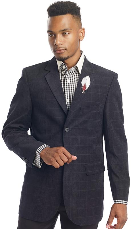 Mens Blazer By EJ Samuel J10 ( 1 Piece Suede Blazer, 2 Button, 2 Flap Pocket, Window Pane Pattern, Super 150s )
