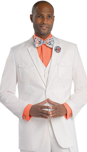 Mens Suits By EJ Samuel M2686 ( 3 Piece, Detailed Pockets, 2 Button Jacket, 5 Button Vest, Super 150s )