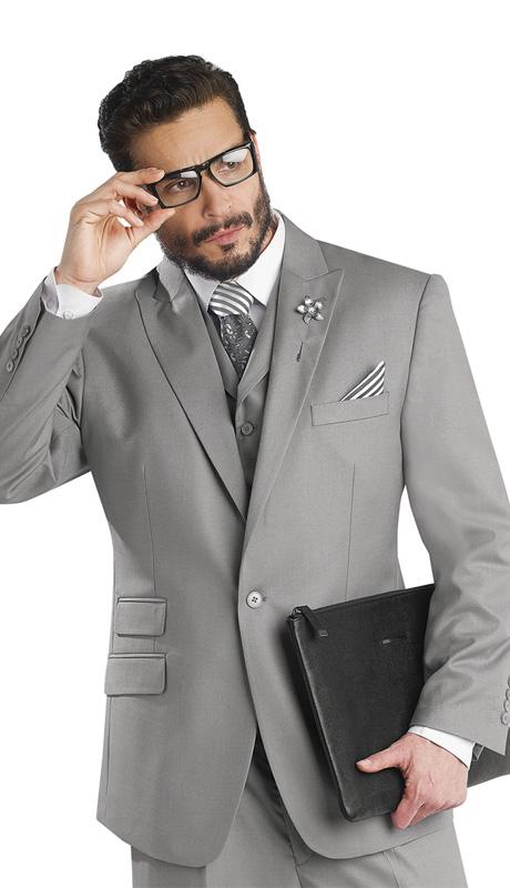 Mens Suits By EJ Samuel M2683-GRA ( 3 Piece, 1 Button Jacket, 5 Button Vest, 3 Flap Pockets, Pleated Pant, Super 150s )