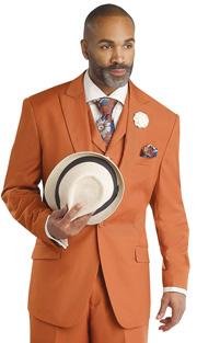 Mens Suits By EJ Samuel M2683-RU ( 3 Piece, 1 Button Jacket, 5 Button Vest, 3 Flap Pockets, Pleated Pant, Super 150s )