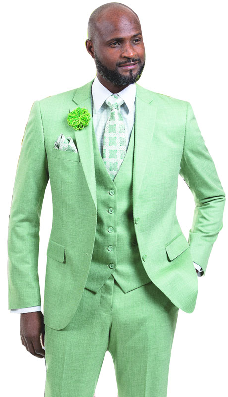EJ Samuel M18014-MO ( 3pc Two Button Three Piece Suit With Vest, Super 140's )