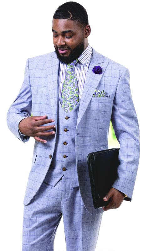 EJ Samuel M2724-PP ( 3pc Plaid Mens Fashion Suit With Vest )