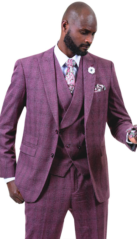 EJ Samuel M2721-WI ( 3pc Plaid Mens Fashion Suit With Vest, Super 140's )