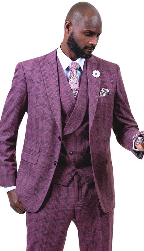 EJ Samuel M2721-WI ( 3pc Plaid Mens Fashion Suit With Vest )