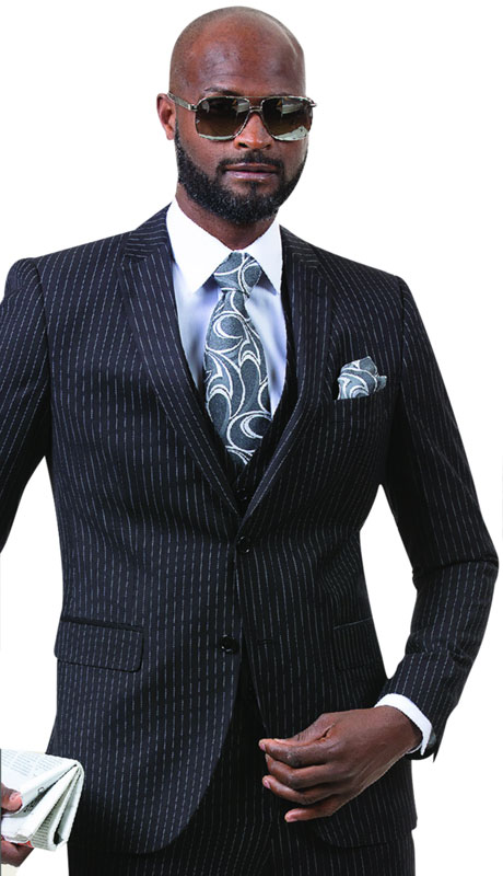 EJ Samuel M18015-BL ( 3pc Mens Pinstripe Fashion Suit With Vest, Super 140's )