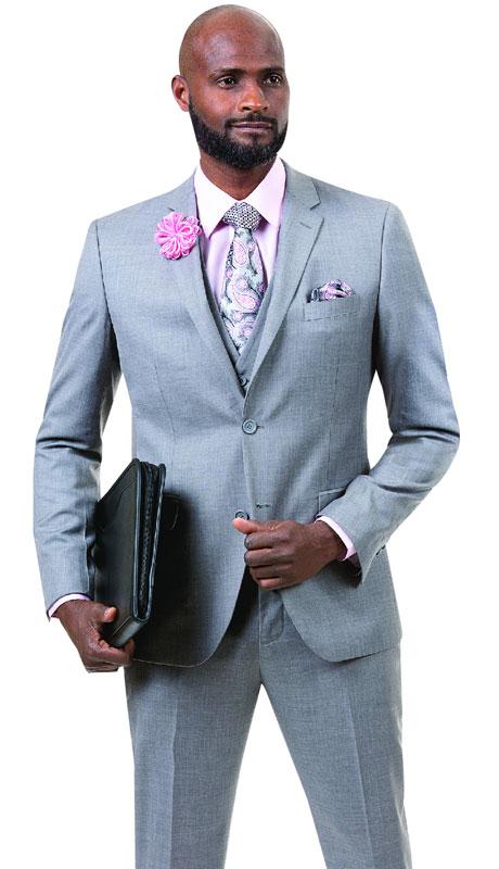EJ Samuel M18014-GR ( 3pc Mens Fashion Suit With Vest )