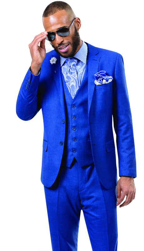 EJ Samuel M18014-MI ( 3pc Mens Fashion Suit With Vest, Super 140's )