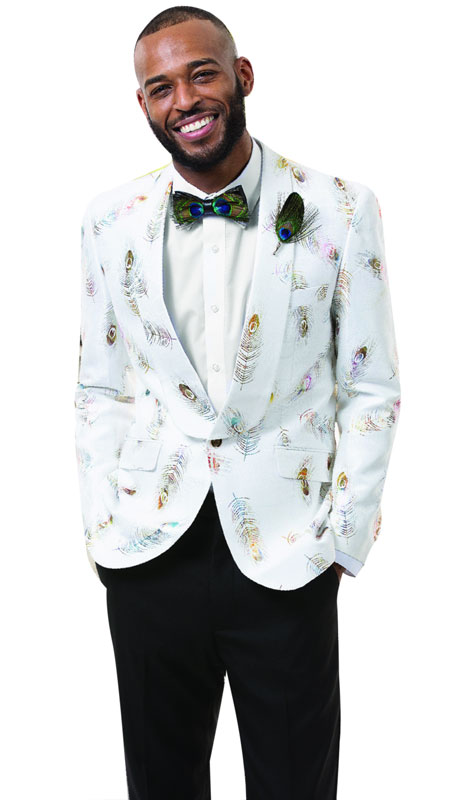 EJ Samuel J44-WH ( 1pc Mens Fashion Blazer WIth Feather Print )