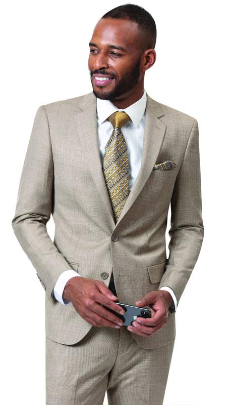 EJ Samuel M18013-TA ( 2pc Mens Two Button Fashion Suit )