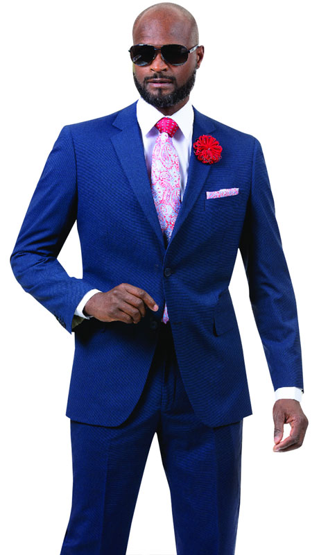 EJ Samuel M18016-LB ( 2pc Mens Two Button Fashion Suit, Super 140's )