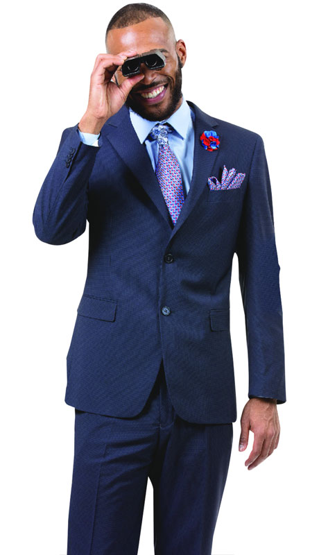 EJ Samuel M18017-BL ( 2pc Mens Two Button Fashion Suit, Super 140's )