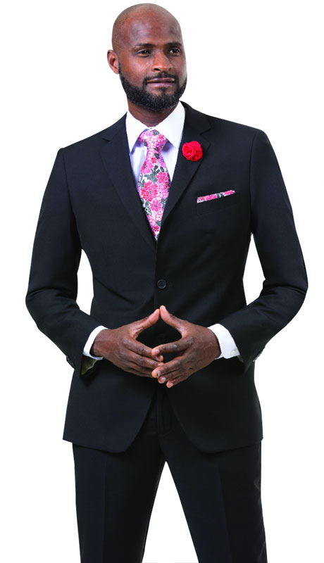 EJ Samuel M18020-BL ( 2pc Mens Two Button Fashion Suit )