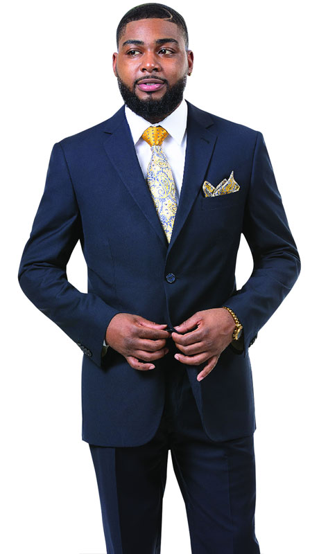 EJ Samuel M18020-NA ( 2pc Mens Two Button Fashion Suit, Super 140's )