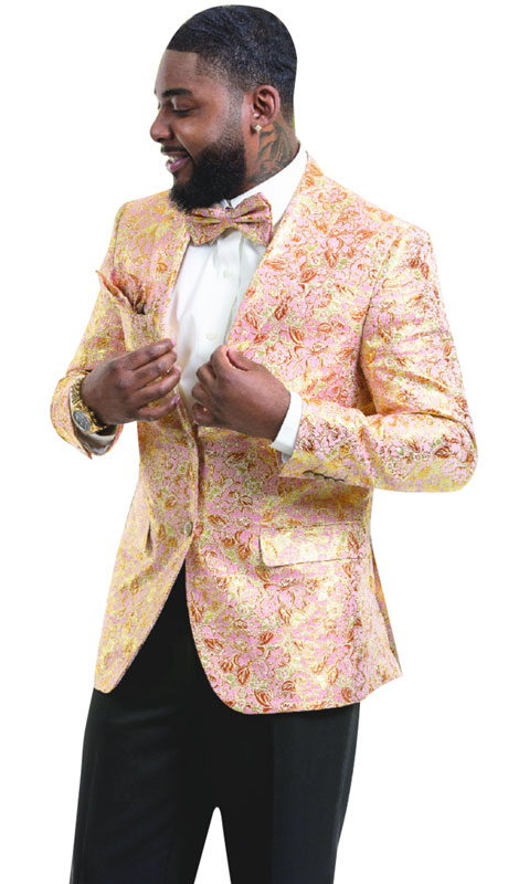 EJ Samuel J50-PI ( 1pc Mens Fashion Blazer WIth Gold Embossed Print )