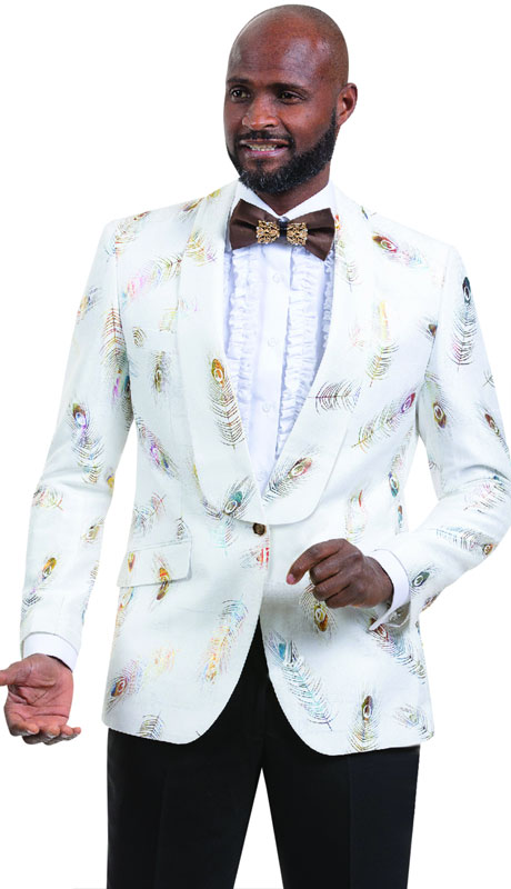 EJ Samuel J44-WM ( 1pc Mens One Button Blazer WIth Shawl Lapel And Feather Design )