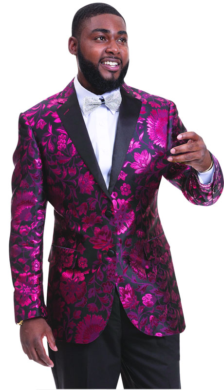EJ Samuel J27-BR ( 1pc Mens Two Button Blazer With Rose Pattern )