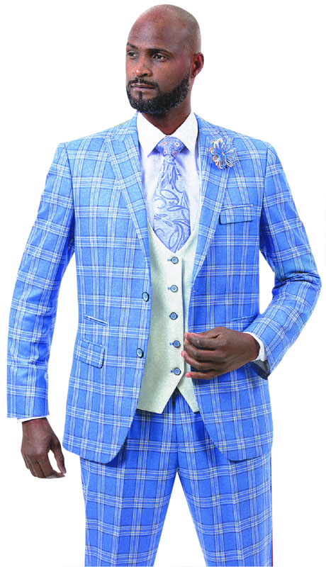 EJ Samuel M2722-LB ( 3pc Plaid Mens Fashion Suit With Reversible Vest, Super 140's )