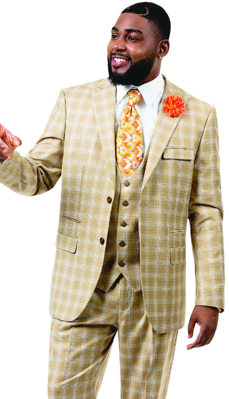 EJ Samuel M2725-Tan ( 3pc Plaid Mens Fashion Suit With Vest, Super 140's )