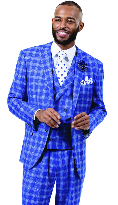EJ Samuel M2728-RO ( 3pc Plaid Mens Fashion Suit With Vest, Super 140's )