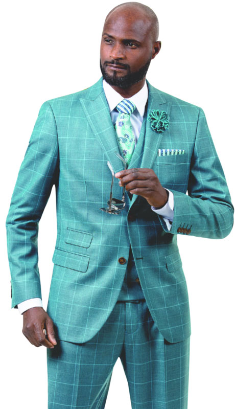 EJ Samuel M2726-HP ( 3pc Plaid Mens Fashion Suit With Vest, Super 140's )
