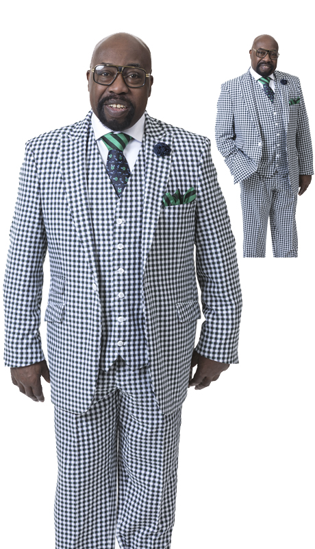 EJ Samuel M2703 ( 3pc Houndstooth Mens Suit, Super 140's )