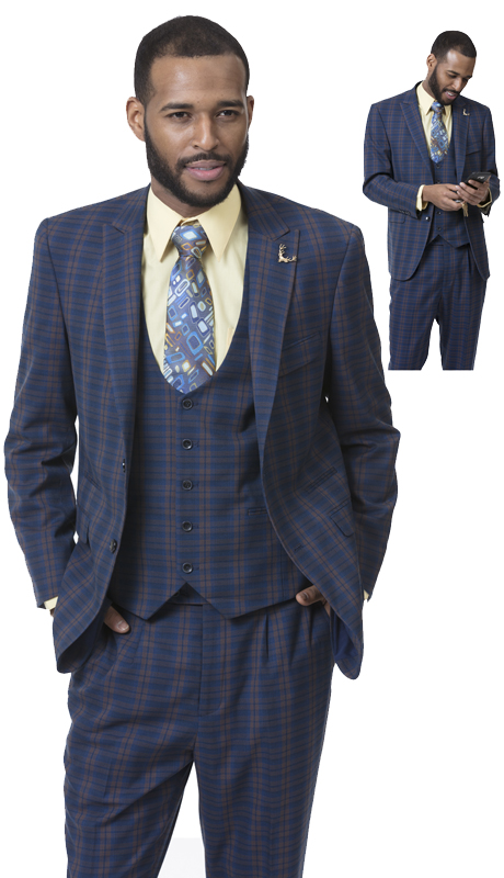 EJ Samuel M2713-IH  ( 3pc Mens Fashion Suit, Super 140's )