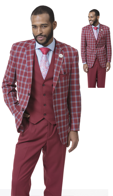 EJ Samuel M2714 ( 3pc Checkered Mens Fashion Suit, Super 140's )