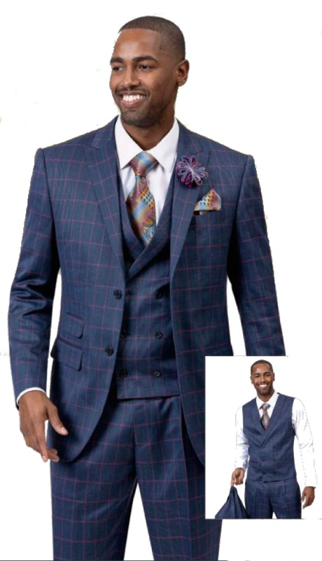 EJ Samuel M2735 ( 3pc Mens Two Button Fashion Suit  Super 140's )