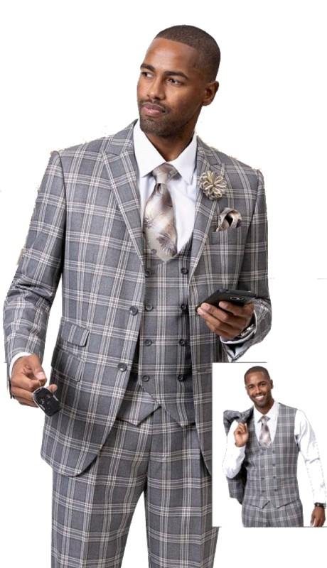 EJ Samuel M2736 ( 3pc Plaid Mens Fashion Suit With Vest, Super 140's )