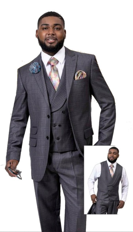 EJ Samuel M2737 ( 3pc Plaid Mens Fashion Suit With Vest, Super 140's )