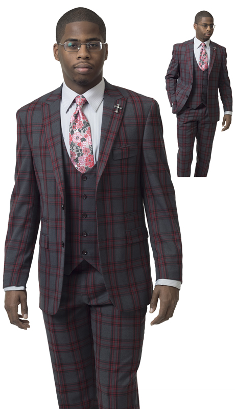 EJ Samuel M2712 ( 3pc Checkered Mens Fashion Suit, Super 140's )