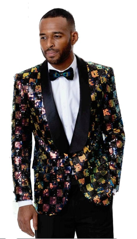 EJ Samuel J55  ( 1pc Mens One Button Blazer WIth Multi Shawl Lapel )