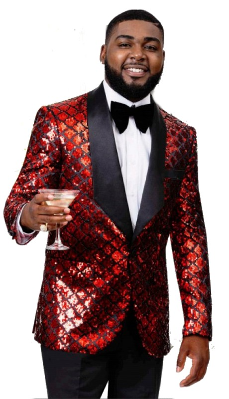 EJ Samuel J56 ( 1pc Mens One Button Blazer With Shiny Red )